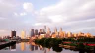 Philadelphia Skyline Day to Night Timelapse video