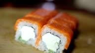 Philadelphia sushi set served on bamboo rag video
