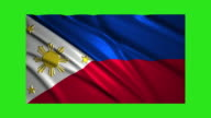 Philippines flag waving,loopable on green screen video