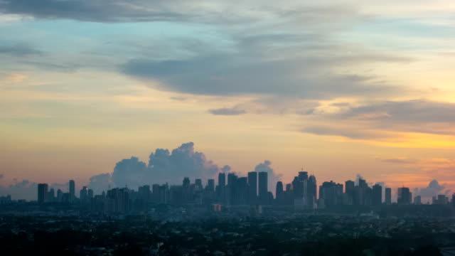 Philippines Manila skyline sunset time lapse video