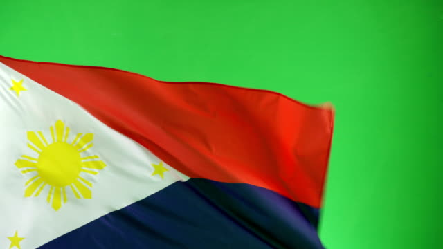 4K: Phillipines Flag on green screen, Real video, not CGI video