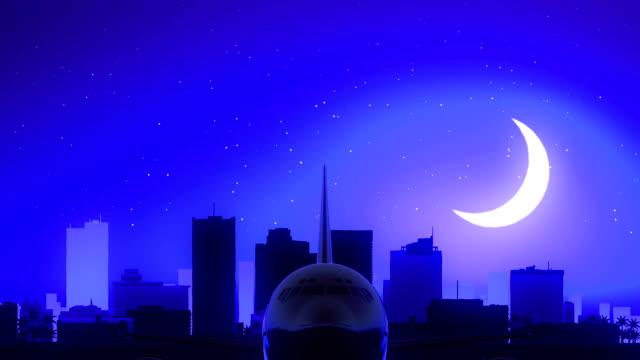 Phoenix Arizona USA America Airplane Take Off Moon Night Blue Skyline Travel video