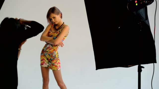 Photographer shooting model at studio video