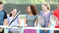 Physically challenged teenage girl with tennis team video