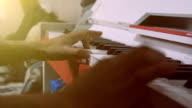 Piano music pianist hand playing. video