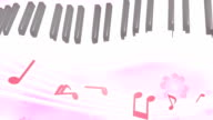 Piano note clover loop wave bright background video