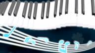 Piano note clover loop wave dark background video