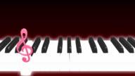 Piano note loop dark background video