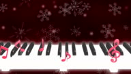 Piano note snow loop dark background video