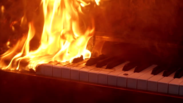 Piano on fire musical instrument video