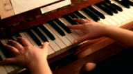 Piano play close up hands shot video