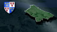 Picardy whit Coat of arms animation map video
