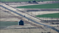 Pick Up Truck Crossing Into New Mexico  - Aerial View - New Mexico,  Roosevelt County,  United States video