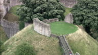 Pickering Castle - Aerial View - England, North Yorkshire, Ryedale District, United Kingdom video