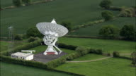 Pickmere Radio Telescope  - Aerial View - England,  Cheshire East,  Pickmere helicopter filming,  aerial video,  cineflex,  establishing shot,  United Kingdom video