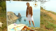 picture - girl on a background of a sea landscape video