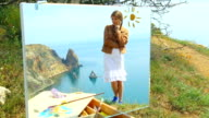 picture - girl on the background of a seascape video
