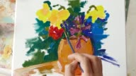 4К Picture of flowers in vase made by fine artist video