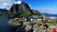 Picturesque fishing port Hamnoya in Norway. video