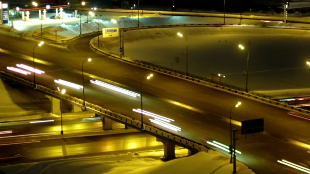 Piece of high-speed highway in night. video