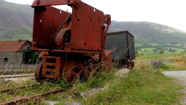 Piece of old rusty mining equipment video