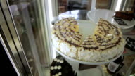 A pieces of delicious cake in a glass video