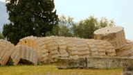Pieces of huge Corinthian column on ground at ancient Zeus temple in Greece video