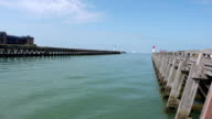 Pier and lighthouses in Trouville, France video