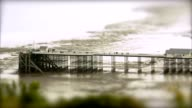 Pier at Low Tide 2. Tilt Shift Timelapse video