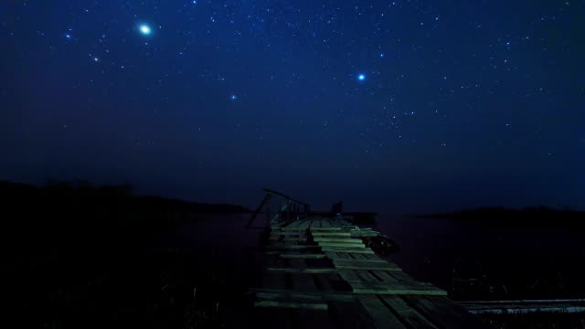 Pier in Nightime and Stars timelapse video