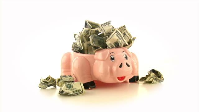 Piggy bank & Dollars, Cash, Money, Savings video