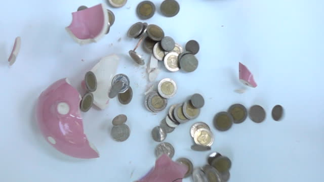 Piggy bank falls and breaks,Slow motion video