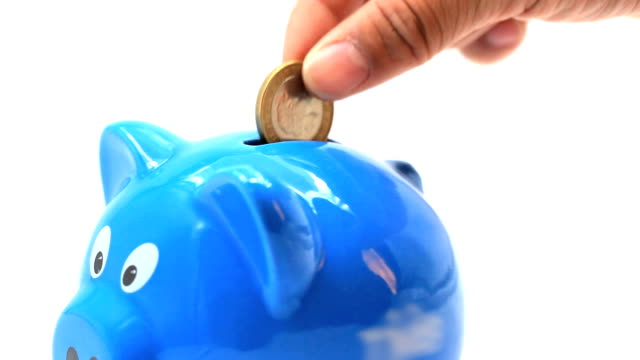 Piggy bank for Savings finance investment economic and insurance concept. video
