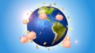 Piggy Banks And Golds Orbiting Around Globe video