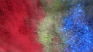 SLO MO pigments being mixed by vibration video