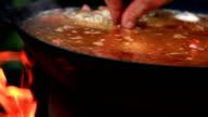 Pilaf Afghan, Uzbek, Tajik national cuisine dish preparation garlic addition video