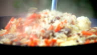 Pilaf Afghan, Uzbek, Tajik national cuisine dish preparation video