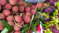 Pile of delicious tropical fruit, Lychee and Mangosteen video
