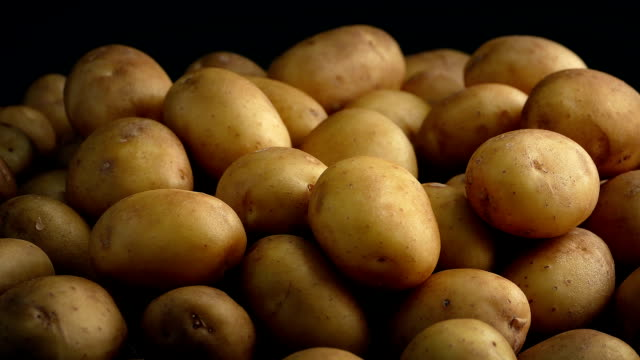 Pile Of Potatoes On Black Background video