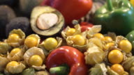 Pile of vegetable and fruits. Colourful healthy vitamin food video