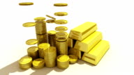 Pile up Golden coins and bar, expressed growth profits video