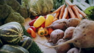 Piled Up Vegetables on Market Stall video