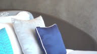 Pillow on bed and sofa decoration in interior video