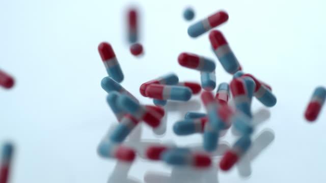 Pills falling in slow motion video