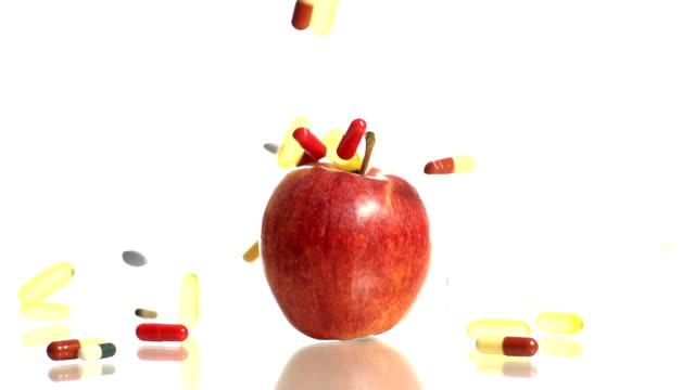HD TIME-WARP: Pills Falling Over An Apple video