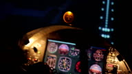 Pilot landing private airliner, view on flight panel and illuminated runway video