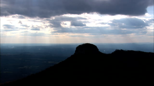 Pilot Mountain  - Aerial View - North Carolina,  Surry County,  United States video