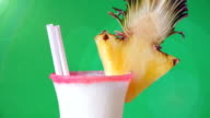 Pina Colada Over Green Background video