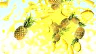 Pineapple Yellow Fruit Nature Splash Liquid Juice Fresh Background video