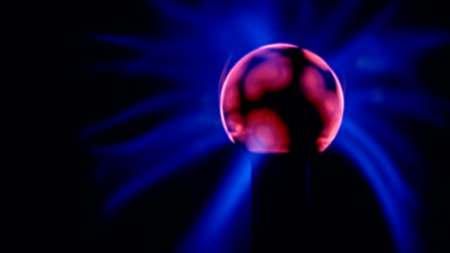 Pink Blue Light Waves Plasma Ball Energy Electricity Field Black Background video